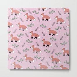 Fox forest woodland animals pink cute girls autumn garden design pattern print Metal Print