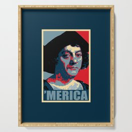 Columbus Merica Propaganda Pop Art Serving Tray