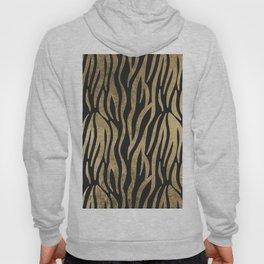 Modern elegant black faux gold trendy zebra animal print Hoody