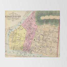 Vintage Map of Charleston West Virginia (1873) Throw Blanket