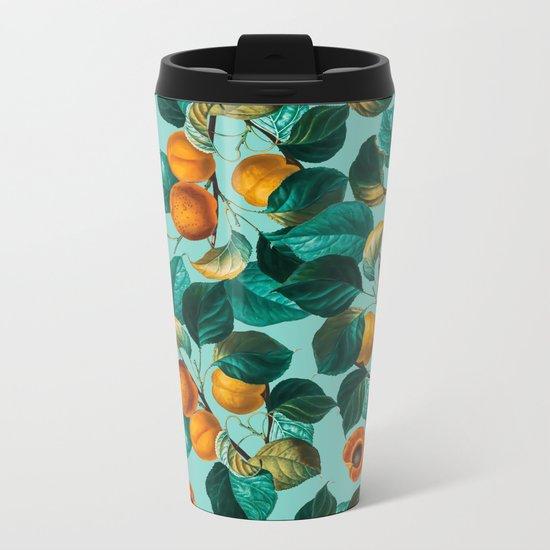 Peach and Leaf Pattern Metal Travel Mug