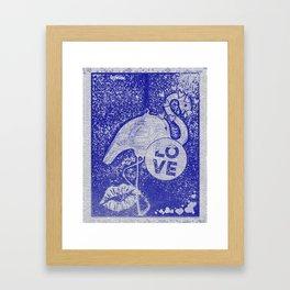 Blue Love Flamingo Framed Art Print