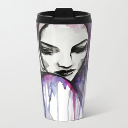 Watercolour Fashion Illustration Portrait Queen of Silence Metal Travel Mug