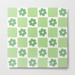 Flower Check in Forest Green Pattern Metal Print