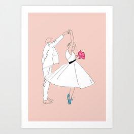 Dancing Couple on Pink Art Print