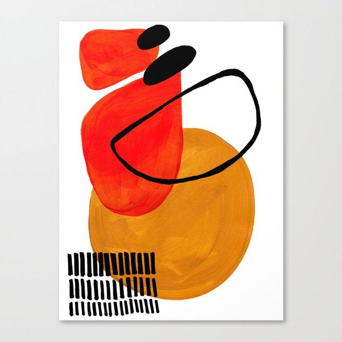 Mid Century Modern Abstract Vintage Pop Art Space Age Pattern Orange Yellow Black Orbit Accent Leinwanddruck