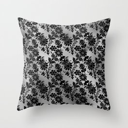 Black and Silver floral Design Throw Pillow
