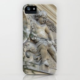 Baroque angel on Parisian mansion facade iPhone Case