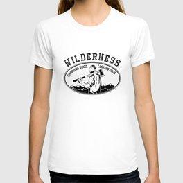 WILDERNESS CHOPPING WOOD LOOKING GOOD funny outdoor lumberjack beard T-shirt
