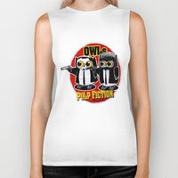 tarantino Biker Tanks featuring Owls Pulp Fiction by Lime