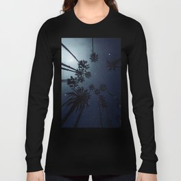 Palm Trees, Night Sky, Stars, Moon Long Sleeve T-shirt