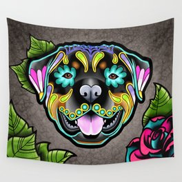 Rottweiler - Day of the Dead Sugar Skull Dog Wall Tapestry
