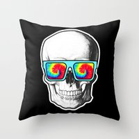 psychadelic Throw Pillows featuring Psychadelic Skull Tiedye glasses by Chara Chara