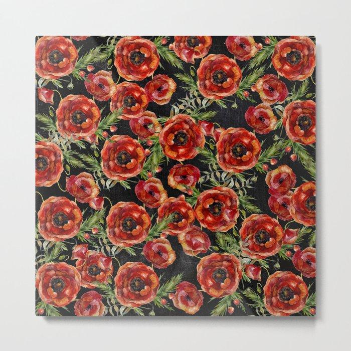 Poppy Pattern On Chalkboard Metal Print