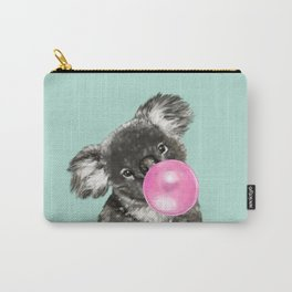 Playful Koala Bear with Bubble Gum in Green Carry-All Pouch