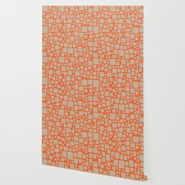 abstract cells pattern in orange and beige Wallpaper