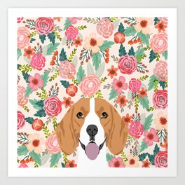 Beagle floral dog breed pet lover dog head with flowers beagles gifts Art Print