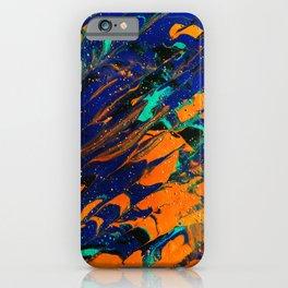 Fluid Acrylic Painting Multi Color Glitch Wave Effect Navy Blue Orange Cyan iPhone Case