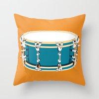 drum Throw Pillows featuring Drum - Orange by Ornaart