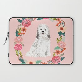 havanese floral wreath spring dog breed pet portrait gifts Laptop Sleeve