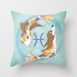 Pisces Zodiac Basset Hound Throw Pillow