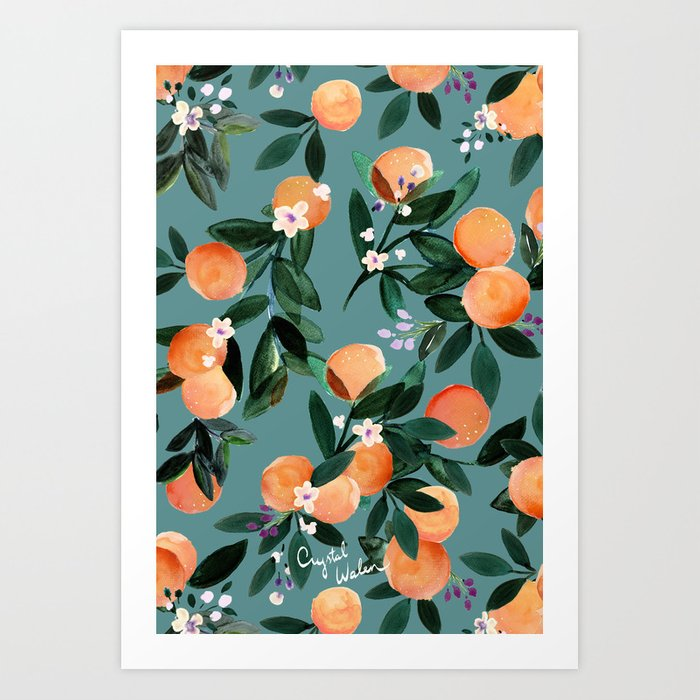 Dear Clementine - oranges teal by Crystal Walen Art Print