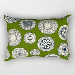 mandala cirque spot green Rectangular Pillow