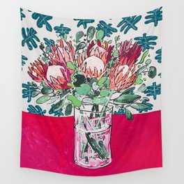 Bouquet of Proteas with Matisse Cutout Wallpaper Wall Tapestry