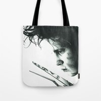 edward scissorhands Tote Bags featuring Edward Scissorhands by Simona Borstnar