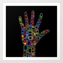 Mobile Phones Hand Art Print