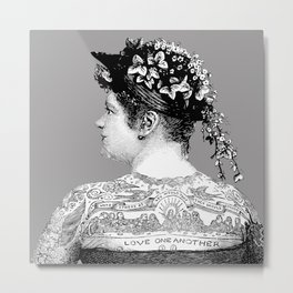 Tattooed Victorian Woman Metal Print