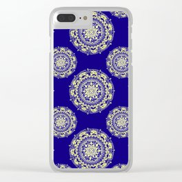 Royal Blue and Gold Patterned Mandalas Clear iPhone Case