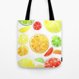 colorful citrus fruit watercolor Tote Bag