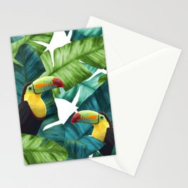 Toucans Tropical Banana Leaves Pattern Stationery Cards