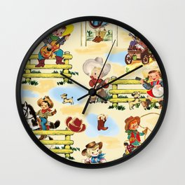 Sunday on the Ranch cowboy cowgirl western farm horse vintage style boots guitar Wall Clock