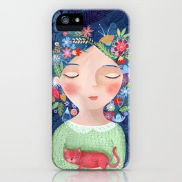 There are women that dreams with red cats iPhone Case