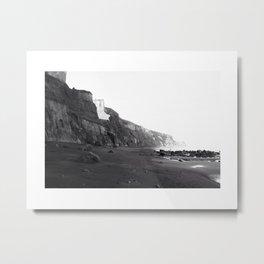 Black & Whites - Beach Cliffs Metal Print