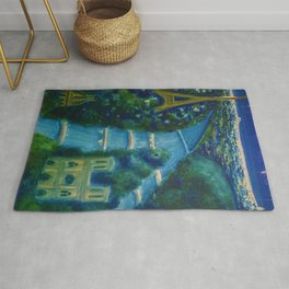 Villemot Paris at Night 'Air France' Vintage Trade Print Rug