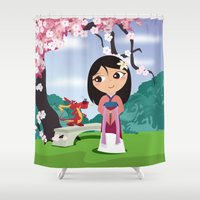 mulan Shower Curtains featuring Mulan by Loud & Quiet
