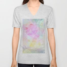 Abstract print of triangles, polygon in pastel colors Unisex V-Neck