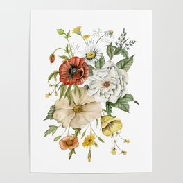 Wildflower Bouquet on White Poster
