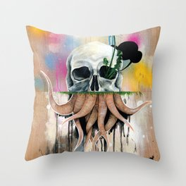 Skull Roots Throw Pillow