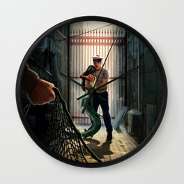 The marine and the mermaid in trouble Wall Clock