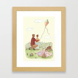 Flying a kite Framed Art Print