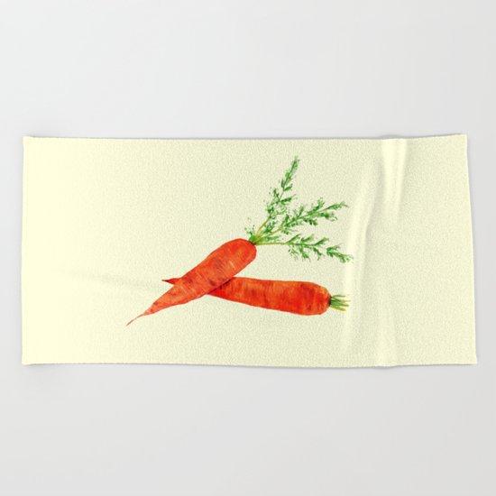 orange carrot watercolor painting Beach Towel