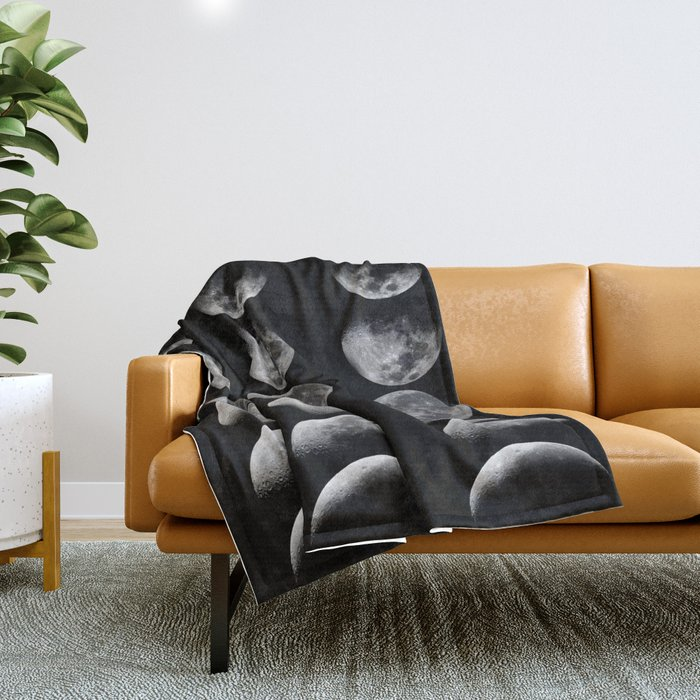 Phases of the Moon Throw Blanket