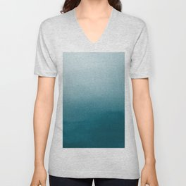 Tropical Dark Teal Inspired by Sherwin Williams 2020 Trending Color Oceanside SW6496 Watercolor Ombre Gradient Blend Abstract Art Unisex V-Neck