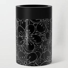 Cherry Blossom Black on White - In Memory of Mackenzie Can Cooler