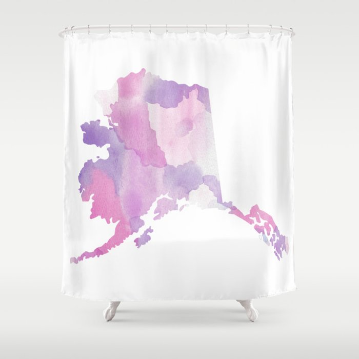 Purple State Map.Watercolor State Map Alaska Ak Purple Shower Curtain By