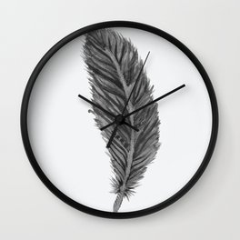 Long Feather - black and white Wall Clock